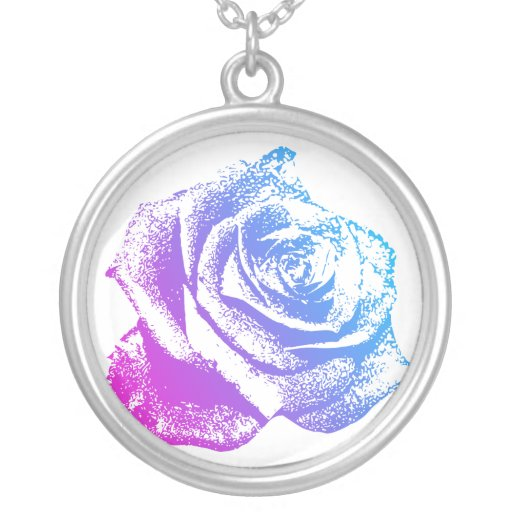 Pink & Blue Rose Round Pendant Necklace