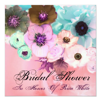 PINK BLUE ROSES AND ANEMONE FLOWERS BRIDAL SHOWER CARD