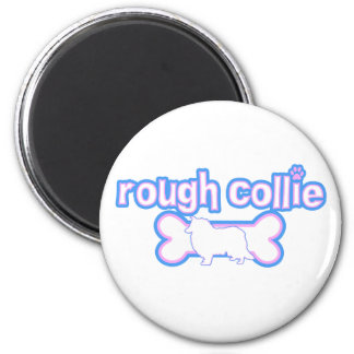 Pink & Blue Rough Collie 2 Inch Round Magnet