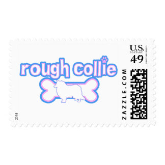 Pink & Blue Rough Collie Postage Stamps