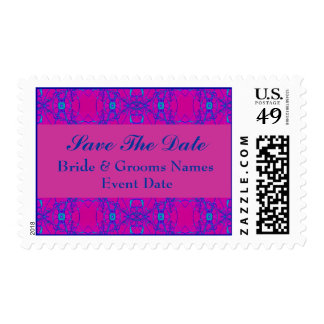 pink blue save the date postage