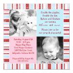 Pink & Blue Sibling Photo Birthday Invitation