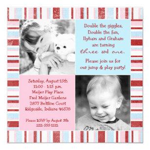Double birthday invitations zazzle pink blue sibling photo birthday invitation filmwisefo