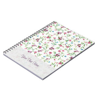 Pink & Blue Small Flowers Pattern Spiral Notebook
