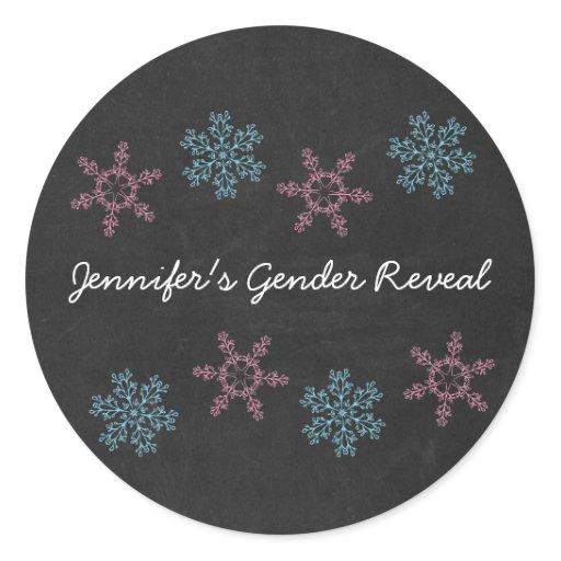 Pink & Blue Snowflake Chalkboard Gender Reveal Classic Round Sticker