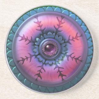 Pink & Blue Snowflake Star Sandstone Coaster