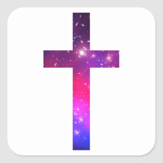 Pink Blue Stars Cross White Square Sticker