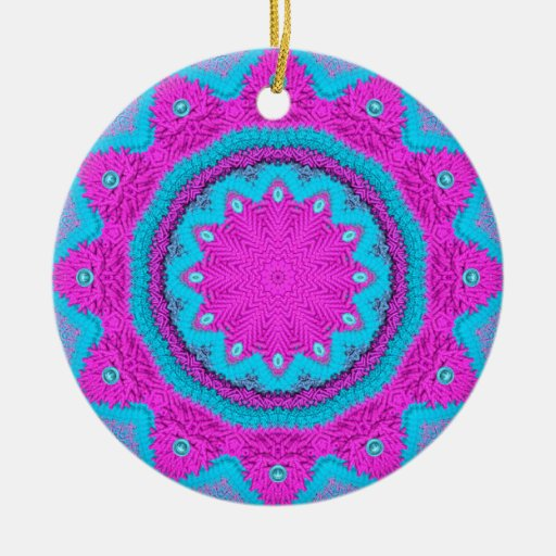 Pink/Blue Stitchery 1 Double-Sided Ceramic Round Christmas Ornament
