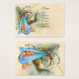 PINK BLUE STORK BABY SHOWER BUSINESS CARD