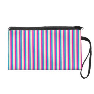 Pink Blue Stripes Neon Trend Wristlet Bag