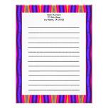 pink blue stripes personalized letterhead