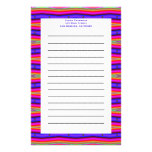 pink blue stripes personalized stationery