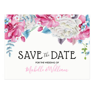 Pink Blue Summer Floral Save the Date Postcard