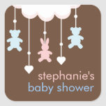 Pink & Blue Sweet Baby Shower Mobile Square Sticker