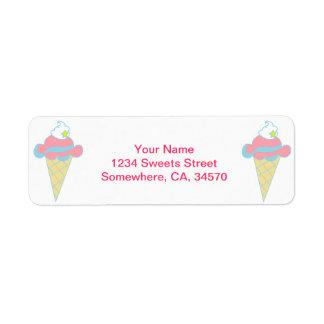 Pink Blue Swirl Star Ice Cream Cone Label