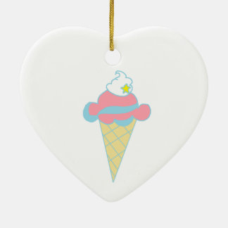 Pink Blue Swirl Star Ice Cream Cone Double-Sided Heart Ceramic Christmas Ornament
