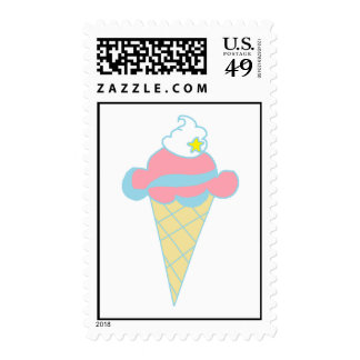 Pink Blue Swirl Star Ice Cream Cone Postage Stamp