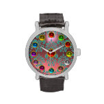 PINK BLUE TEAL DAMASK AND 3D COLORFUL GEMSTONES WRISTWATCH