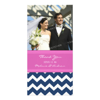 Pink Blue Thank You Wedding Photo Cards