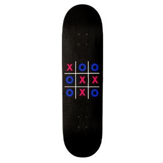 Pink & Blue Tic Tac Toe - Black Skateboard
