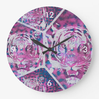 Pink Blue Tiger Collage Large Clock
