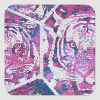 Pink Blue Tiger Collage Square Sticker