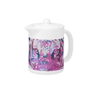 Pink Blue Tiger Collage Teapot