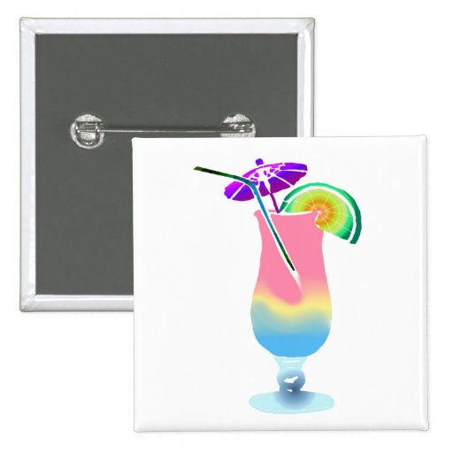 Pink & Blue Tropical Drink Pinback Buttons