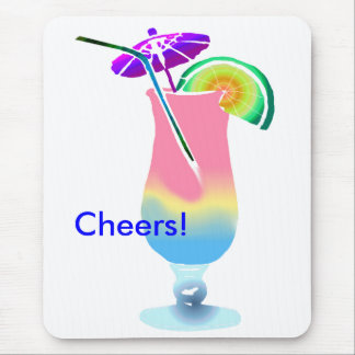 Pink & Blue Tropical Drink Mouse Pad