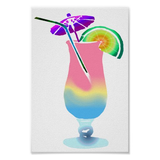 Pink & Blue Tropical Drink Poster
