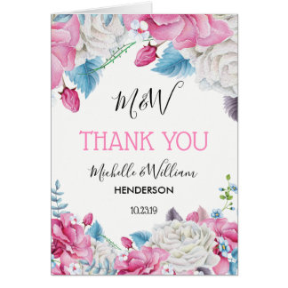 Pink Blue Tropical Summer Floral Thank You Card