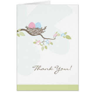 Pink & Blue Twin Eggs in Nest Thank You Card