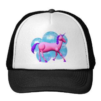 Pink blue unicorn horse design trucker hat