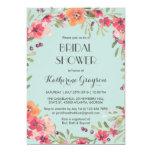 Pink Blue Vintage Flower Bridal Shower Invitation at Zazzle
