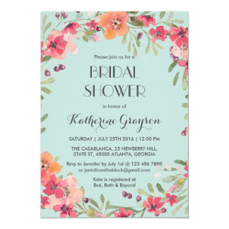 Pink Blue Vintage Flower Bridal Shower Invitation