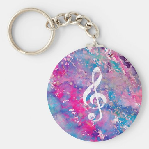 Pink Blue Watercolor Paint Music Note Treble Clef Basic Round Button Keychain