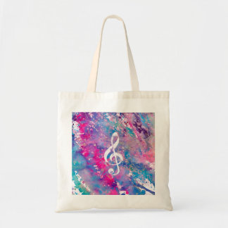Pink Blue Watercolor Paint Music Note Treble Clef Budget Tote Bag
