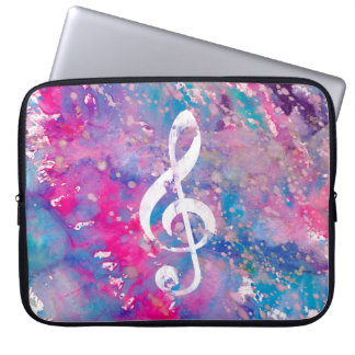 Pink Blue Watercolor Paint Music Note Treble Clef Computer Sleeve