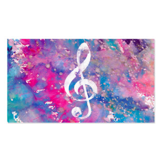 Pink Blue Watercolor Paint Music Note Treble Clef Double-Sided Standard Business Cards (Pack Of 100)