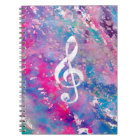 Pink Blue Watercolor Paint Music Note Treble Clef Notebook