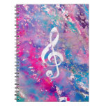 Pink Blue Watercolor Paint Music Note Treble Clef Notebook at Zazzle