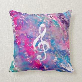 Pink Blue Watercolor Paint Music Note Treble Clef Pillow