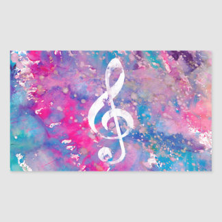 Pink Blue Watercolor Paint Music Note Treble Clef Rectangular Sticker