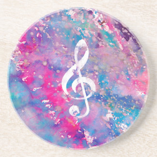 Pink Blue Watercolor Paint Music Note Treble Clef Sandstone Coaster