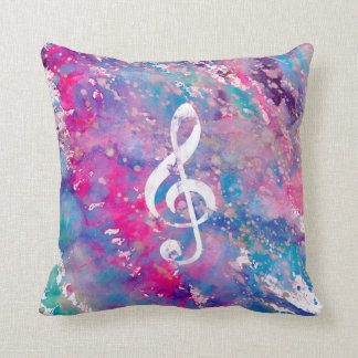 Pink Blue Watercolor Paint Music Note Treble Clef Throw Pillow