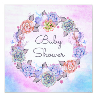 Pink Blue Watercolor Succulents Wreath Baby Shower Card