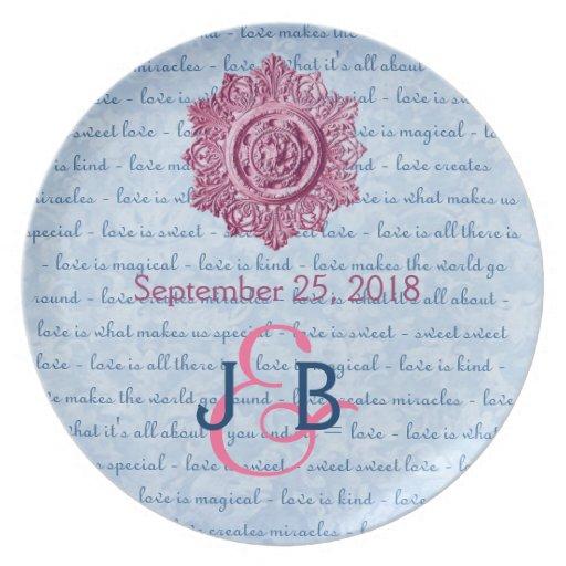 Pink Blue Wedding Memento Vintage Element Ver 2 Party Plate