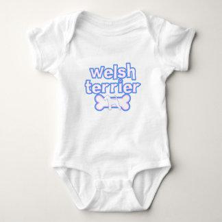 Pink & Blue Welsh Terrier Baby Bodysuit