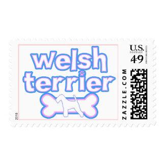 Pink & Blue Welsh Terrier Postage Stamps