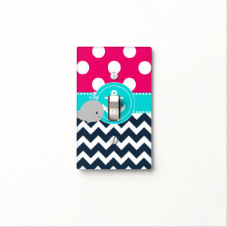 Pink Blue Whale Anchor Light Switch Light Switch Cover